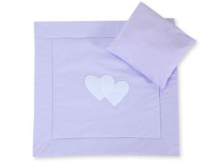Baby pram set 2pcs- Hanging hearts lilac