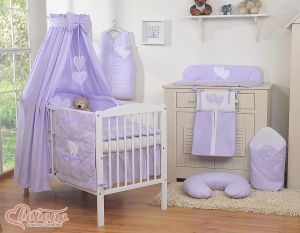 Bedding set 7-pcs with canopy- Hanging Hearts lilac