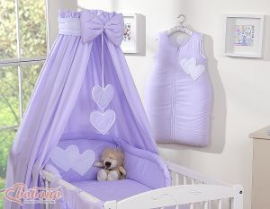 Bedding set 5-pcs with canopy- Hanging Hearts lilac