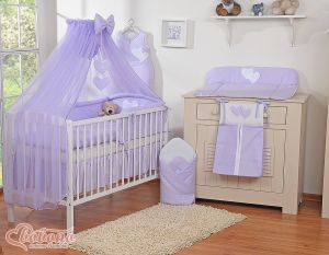 Bedding set 5-pcs with mosquito-net- Hanging Hearts lilac
