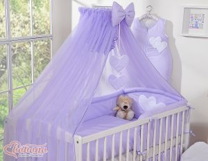 Mosquito-net made of chiffon- Hanging Hearts lilac