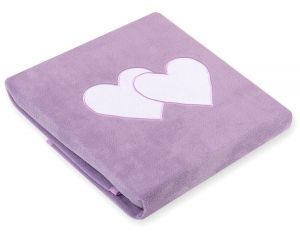 Polar fleece blanket- Hanging hearts lilac