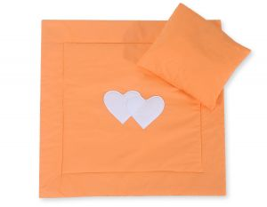 Baby pram set 2pcs- Hanging hearts orange