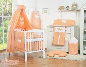 Bedding set 11-pcs with canopy- Hanging Hearts peach
