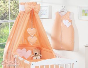 Bedding set 5-pcs with canopy- Hanging Hearts peach
