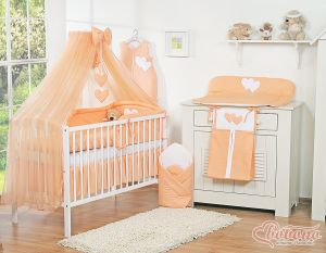 Bedding set 5-pcs with mosquito-net- Hanging Hearts peach