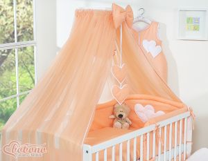 Mosquito-net made of chiffon- Hanging Hearts peach