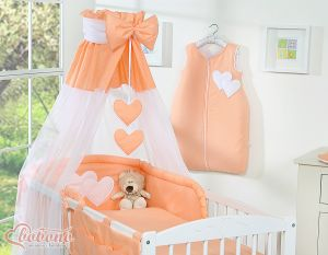 Canopy made of Chiffon- Hanging Hearts orange