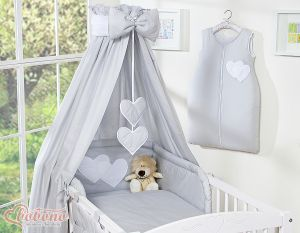 Bedding set 5-pcs with canopy- Hanging Hearts grey
