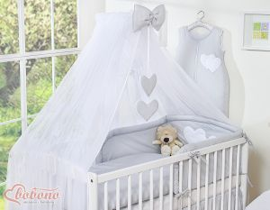 Mosquito-net made of chiffon- Hanging Hearts gray