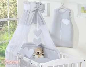 Canopy made of Chiffon- Hanging Hearts gray