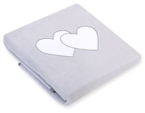 Polar fleece blanket- Hanging hearts grey