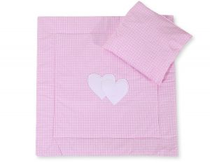 Baby pram set 2pcs- Hanging hearts pink checkered