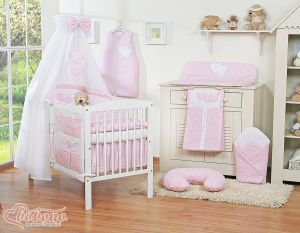 Bedding set 11-pcs with canopy- Hanging Hearts pink checkered