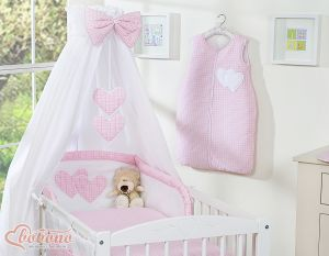 Bedding set 5-pcs with canopy- Hanging Hearts white polka dots on pink