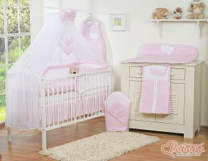 Bedding set 5-pcs with mosquito-net- Hanging Hearts pink checkered