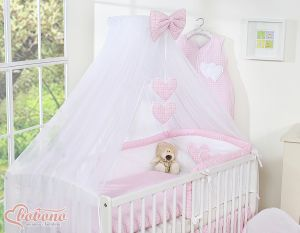 Mosquito-net made of chiffon- Hanging Hearts pink checkered