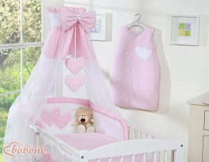Canopy made of Chiffon- Hanging Hearts pink checkered