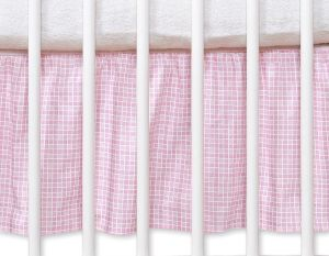 Dust Ruffle-Masking flounce 140x70cm- Hanging Hearts pink checkered