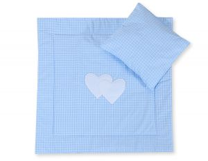 Baby pram set 2pcs- Hanging hearts blue checkered