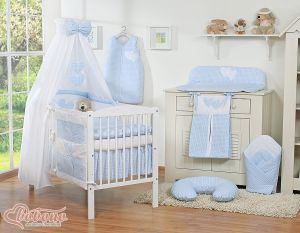 Bedding set 7-pcs with canopy- Hanging Hearts blue checkered
