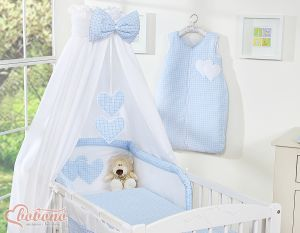 Bedding set 5-pcs with canopy- Hanging Hearts blue checkered
