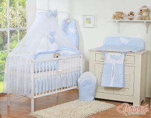 Bedding set 5-pcs with mosquito-net- Hanging Hearts blue checkered