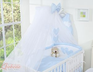 Mosquito-net made of chiffon- Hanging Hearts blue checkered
