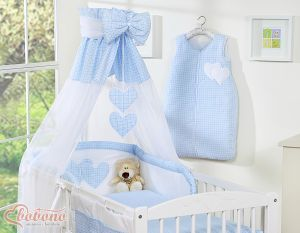 Canopy made of Chiffon- Hanging Hearts blue checkered