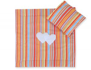Baby pram set 2pcs- Hanging hearts orange strips