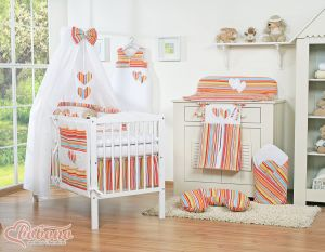 Bedding set 7-pcs with canopy- Hanging Hearts orange strips