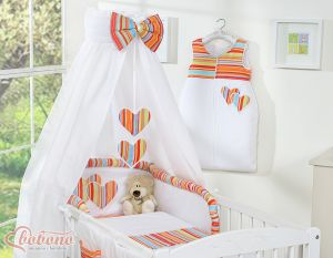 Bedding set 5-pcs with canopy- Hanging Hearts orange strips