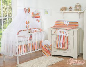 Bedding set 5-pcs with mosquito-net- Hanging Hearts orange strips