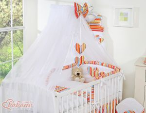 Mosquito-net made of chiffon- Hanging Hearts orange strips