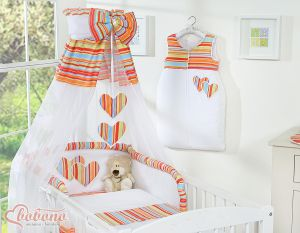 Canopy made of Chiffon- Hanging Hearts orange strips