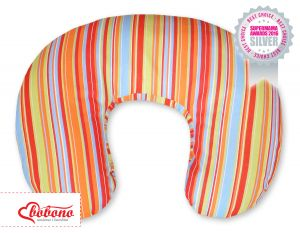 Extra cover for feeding pillow- Hanging hearts orange strips