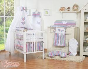Bedding set 7-pcs with canopy- Hanging Hearts lilac strips