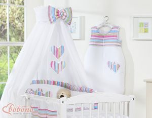 Bedding set 5-pcs with canopy- Hanging Hearts lilac strips