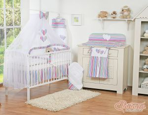Bedding set 7-pcs with mosquito-net- Hanging Hearts lilac strips