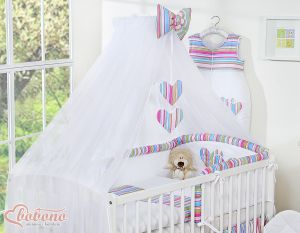 Mosquito-net made of chiffon- Hanging Hearts lila strips