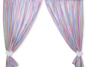 Curtains for baby room- Hanging Hearts lilac strips