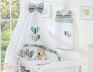 Canopy made of fabric- Hanging Hearts brown strips