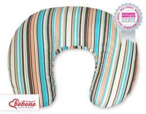 Feeding pillow- Hanging hearts brown strips