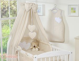 Bedding set 5-pcs with canopy- Hanging Hearts white polka dots on beige
