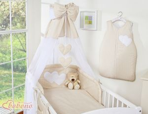 Canopy made of Chiffon- Hanging Hearts white polka dots on beige