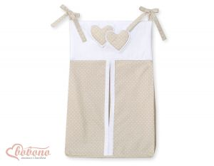 Diaper bag- Hanging Hearts white dots on beige