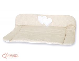 Soft changing mat- Hanging Hearts white polka dots on beige