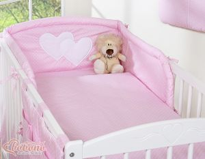 Bedding set 3-pcs- Hanging Hearts white polka dots on pink