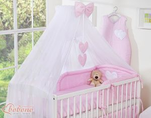 Mosquito-net made of chiffon- Hanging Hearts white dots on pink