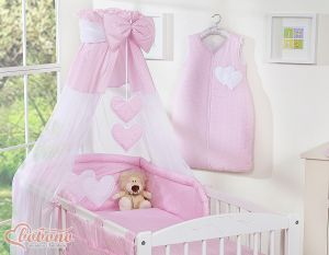 Canopy made of Chiffon- Hanging Hearts white polka dots on pink
